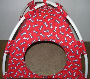 Image is loading SMALL-RED-DOG-BONE-PUP-TENT-PET-BED-  sc 1 st  eBay & SMALL RED DOG BONE PUP TENT PET BED/CAT/DOG/TOY/DOLL | eBay