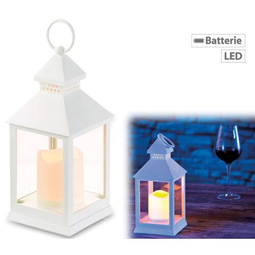 Batteriebetrieb Flackerlicht Laterne mit flackernder LED-Kerze und Timer weiß