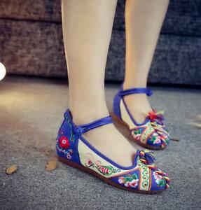 Embroidery-Floral-Womens-Canvas-Mid-Hidden-Heel-Pumps-Casual-Shoes-Retro-Oxfords