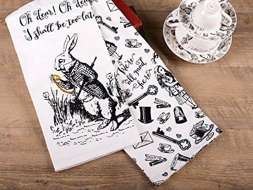 70 x 50 cm 2 Victoria and Albert VA Set of 2 Alice in Wonderland Tea Towels