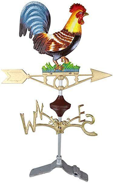 Cast Iron Rooster Cockerel Weather Vane with Standing Ridge Mount Metal Painted
