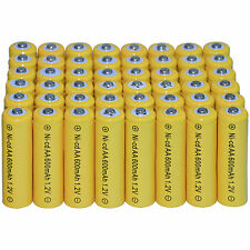 48 AA Rechargeable Batteries NiCd 600mAh 1.2v Garden Solar Ni-mh Light Nimh Lamp