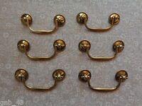 Set Of 6 Keeler Brass Antique Brass Finish Cabinet Bail Swing Pulls