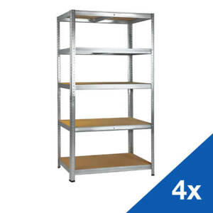 4-x-Steckregal-Schwerlastregal-Metallregal-verzinkt-180x90x40-cm-je-5-x-175-kg