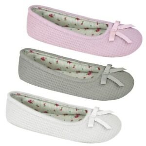 Ladies-Bow-Front-Waffle-Ballet-Slippers-UK-3-8