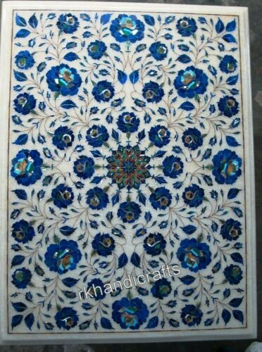 18 x 24 Inches Marble Side Table Top Lapis Lazuli Stone Art Inlaid Coffee Table