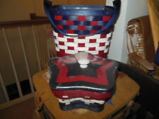 Longaberger Red White and Blue American Life Tote Set & Star Basket Set w/ Lid