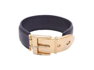 fcd5b41276489 Details about Auth Gucci Belt Motif Bracelet Black/Gold Embossed  Leather/Goldtone - e41583