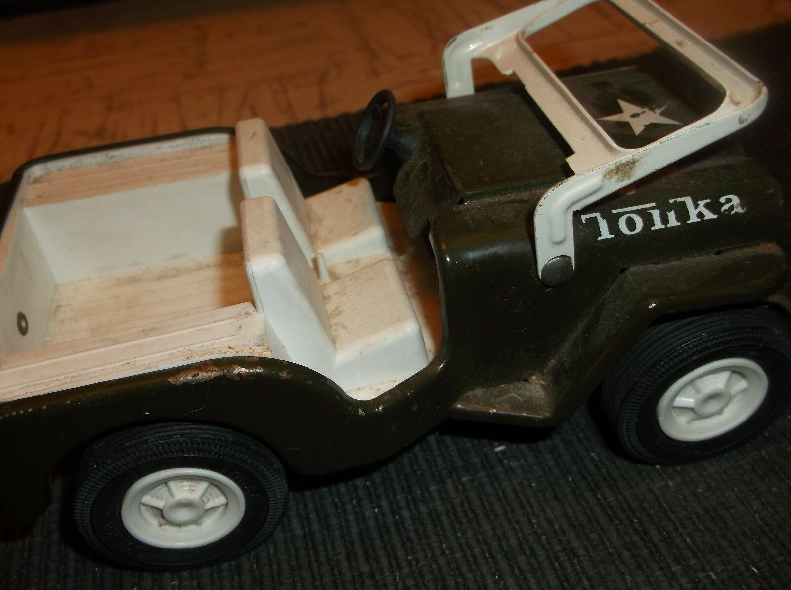 "Vintage TOY METAL CAR-ARMY JEEP JEEP JEEP 6""x3""x3.5""approx. Tonka 1968 Green metal a8f8b9"