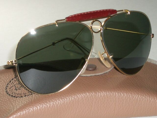 c582a44dff9 VINTAGE B L RAY-BAN GP-ARISTA LEATHER BLEND G15 SHOOTING AVIATOR SUNGLASSES  NEW