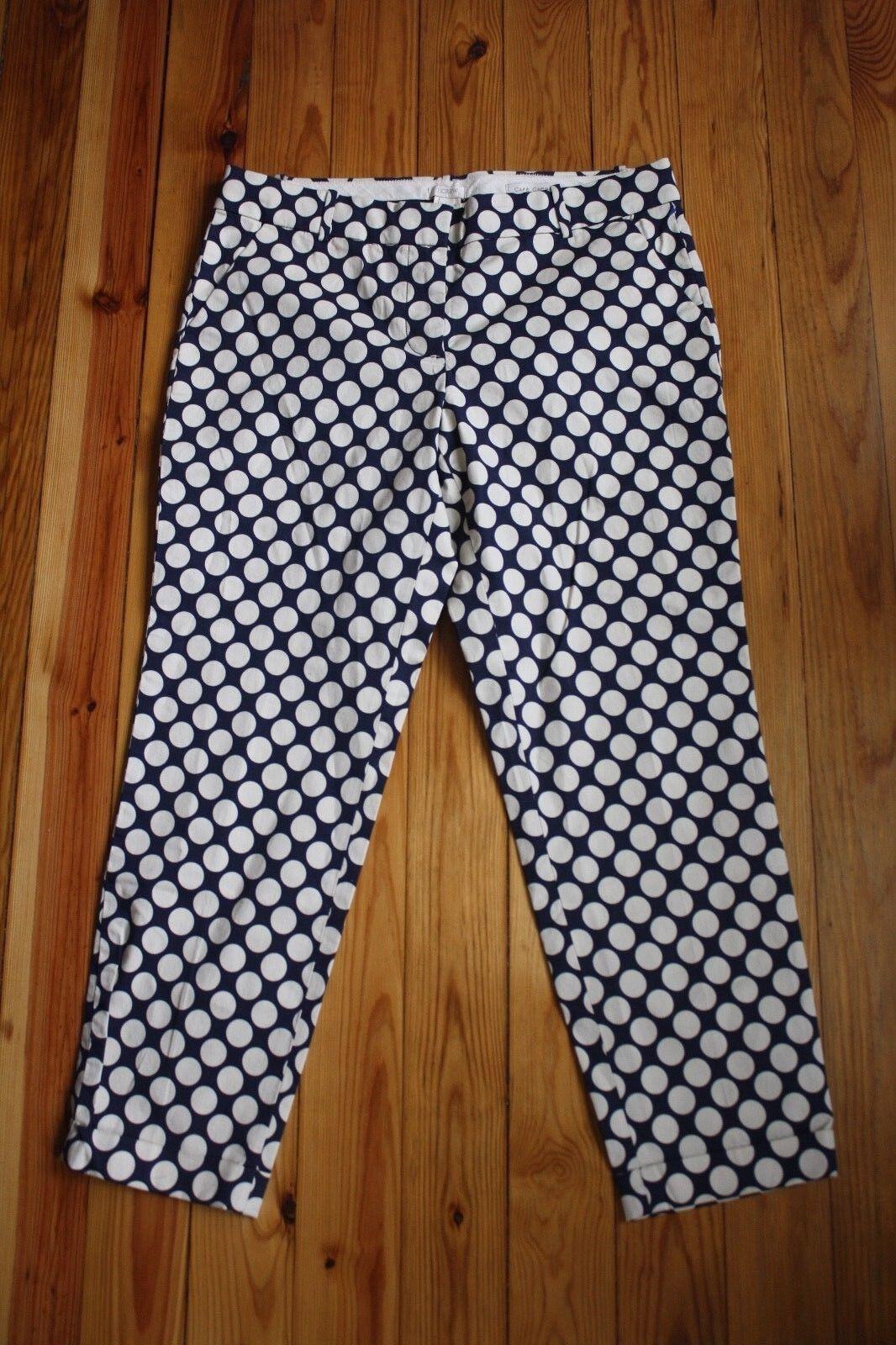 NWT J. Crew 8 Cafe Capri Cuffed Ankle Pants in Pop Art Polka Dot 76958
