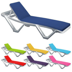 Fits most Loungers Inc Resol Master x 2 Sun Lounger Cushions White Blue