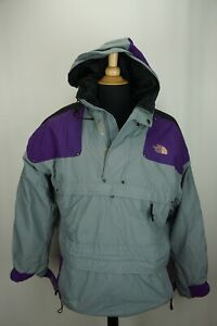 The-North-Face-Extreme-Anorak-Gray-Purple-Hooded-Pullover-Jacket-Sz-S-VINTAGE