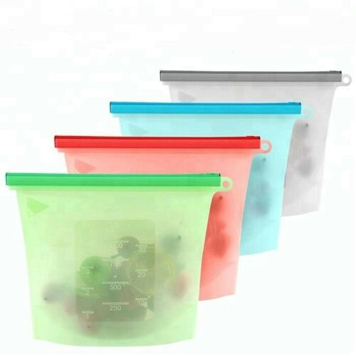 4PCS Reusable Food Storage Silicone Bag Seal Fresh Bag For Fruit Meat Container
