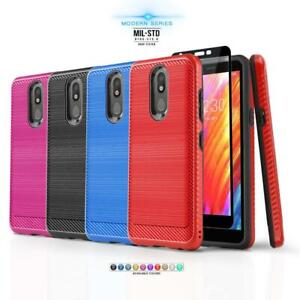 for-LG-ARISTO-4-PLUS-Modern-Series-Phone-Case-Brushed-Cover-Tempered-Glass