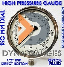 High Pressure Gauge Dual Scale 2100 Bar 30000psi 12 Bsp Bottom Connection