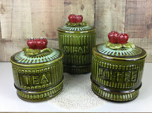 Vintage USA California Pottery Avocado Green Strawberry Handle Canister Set Of 3