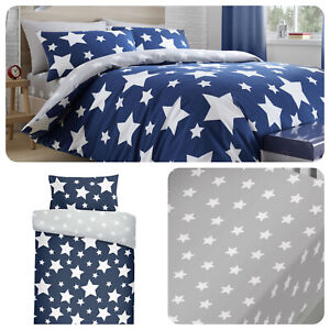 Bedlam-STARS-Duvet-Cover-Blue-Grey-Kids-Boys-Reversible-Bedding-Fitted-Sheets