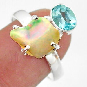 6.95cts Natural Ethiopian Opal Raw Blue Topaz 925 Silver Ring Size 8 T41160