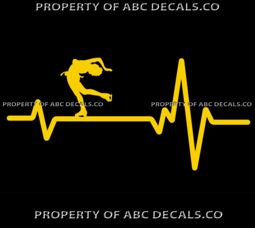 VRS Heart Beat Line ICE FIGURE SKATING Skates Spin Short Hair CAR VINYL DECAL