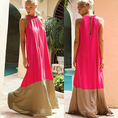 A Women Dress Halter O-Neck Boho Long Evening Party Beach Dresses Sundress L