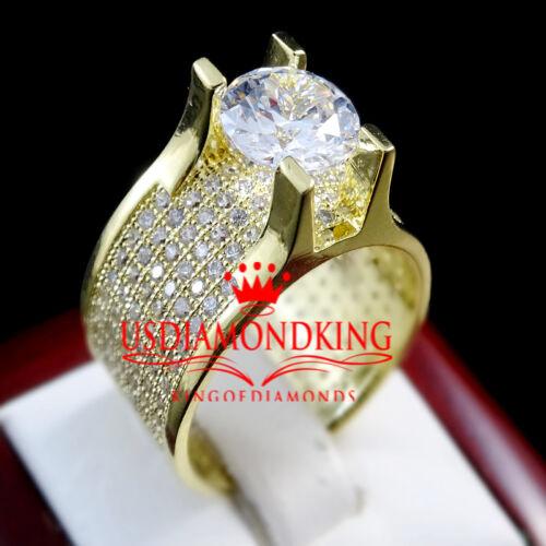 MEN/'S LADIES ENGAGMENET BRIDAL 14K YELLOW GOLD FINISH SOLITAIRE PINKY RING BAND