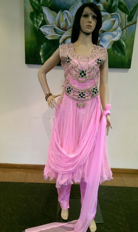 "38"" S Net Salwar Kameez Bollybois Indian Party Wear Diwali EID rosey violet S66"