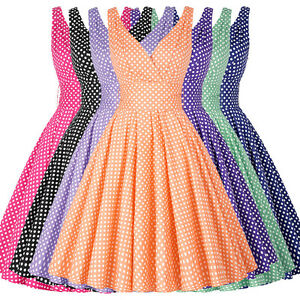 Vintage-Style-Retro-50s-Swing-Pinup-Polka-Dot-Evening-Party-Prom-Dress-Plus-Size