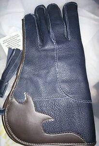New-Nubuck-Leather-Double-Skinned-Falconry-Glove-12-034-Dark-Blue-Standard-Size-L