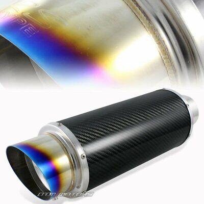 """4/"""" Burnt Tip Carbon Fiber Body Exhaust Muffler 3/"""" Inlet Silencer Universal 3"""