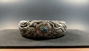 Chinese-Sterling-Silver-Turquoise-Bangle-Dragon