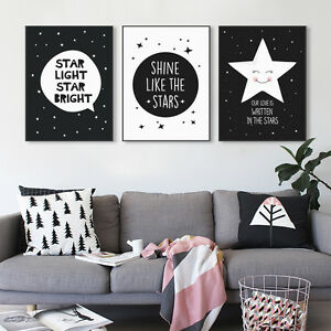 Black White Star Quotes A4 Poster Print Wall Art Kids Room Decor