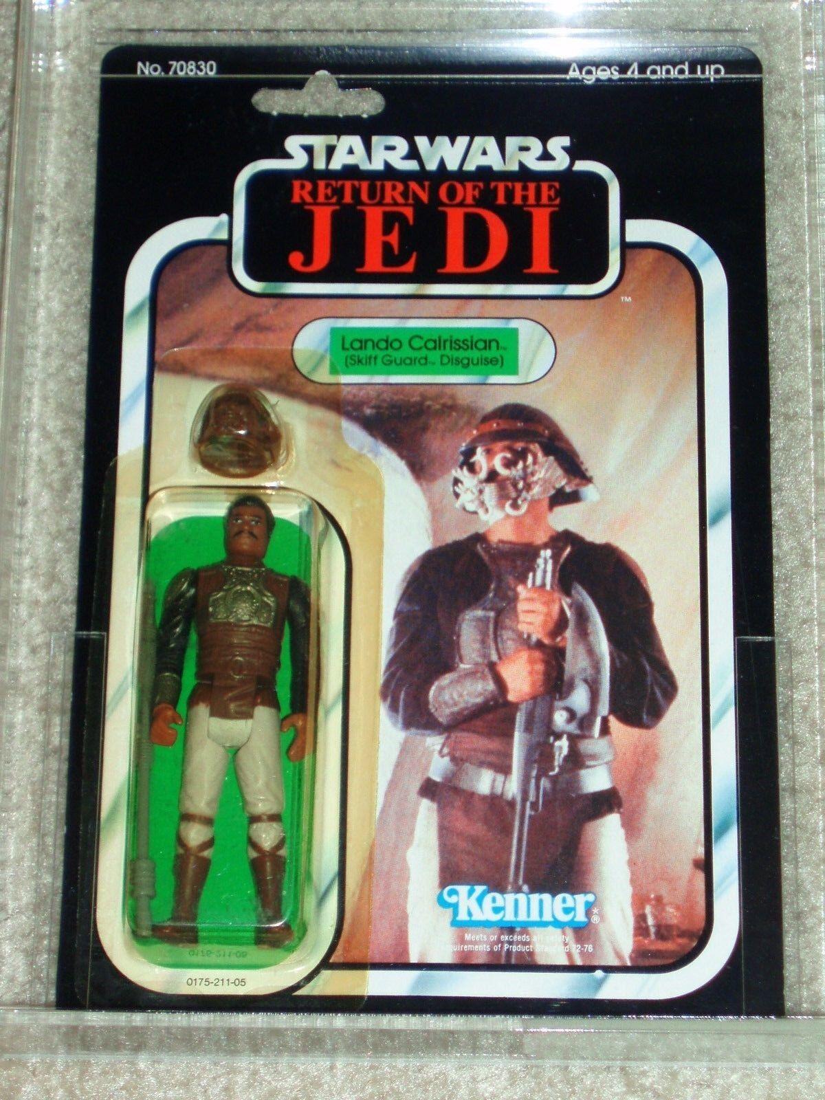 De colección Guerra de las galaxias 1983 Figura de Acción 85 85 85 Lando Calrissian Skiff Guardia autoridad Regreso del Jedi atrás menta en tarjeta