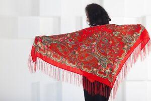 Pavlovo-Posad-Chale-Woolen-Scarf-russe-Chale-avec-Frange-120x120-cm