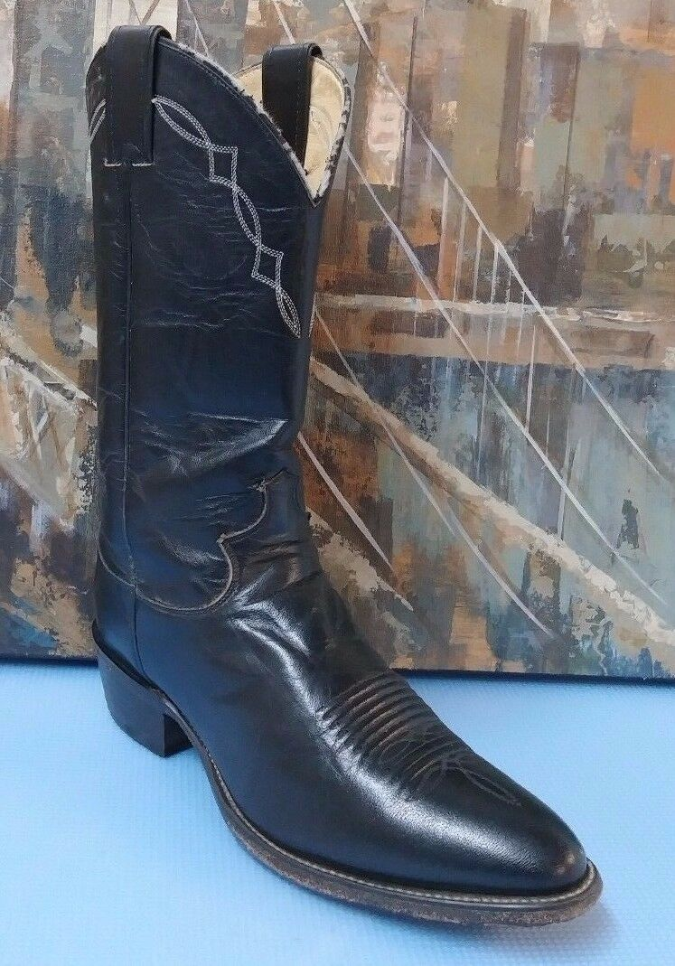 Justin Classic Vaquero Leather Roper Boot with Black Western Boots Men's 8D