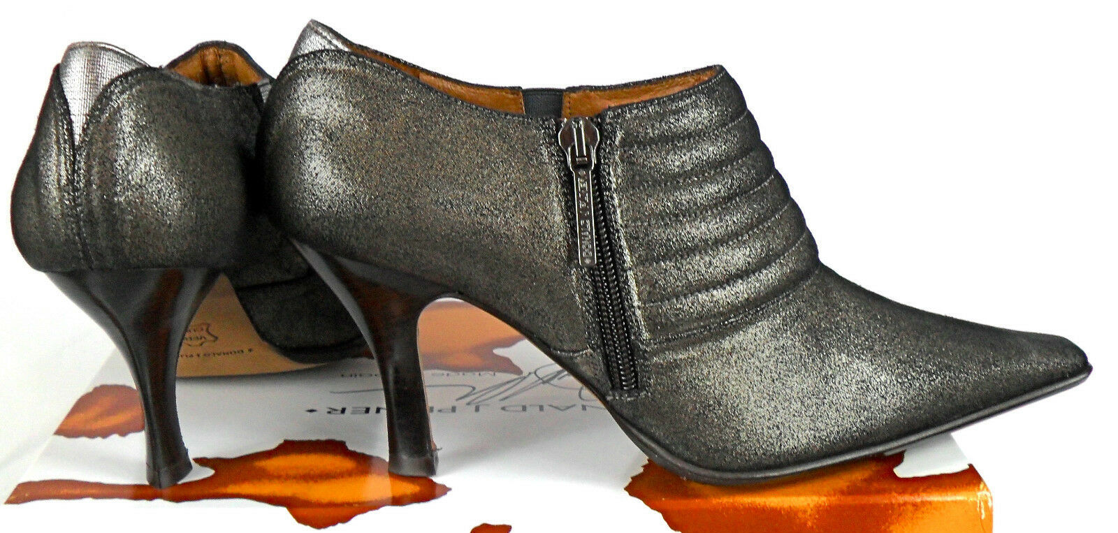 Donald J Pliner Monica ankle boots Taupe/Pewter ankle booties sz 38 NIB