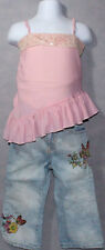 Girls BOUTIQUE SARA SARA Pink CHIFFON SHIRT And TCP DENIM Fairies PANTS Sz 2T