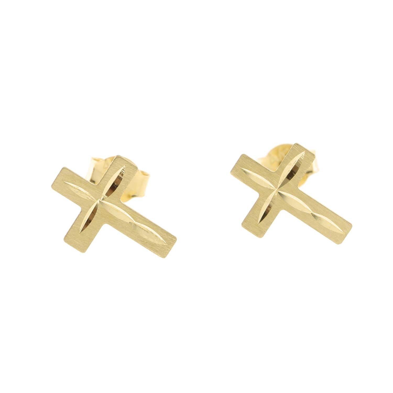 14k Yellow gold Diamond Cut Cross Stud Earrings