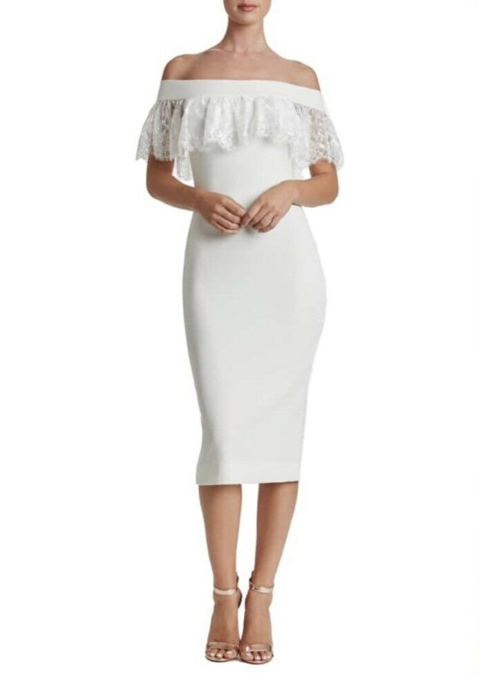 232 DRESS THE POPULATION ALICE MIDI LACE DRESS OFF WHITE S SMALL NORDSTROM