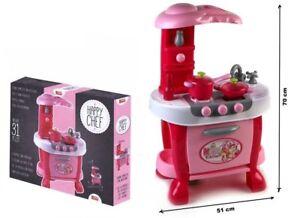Dettagli su Cucina Giocattolo Per Bambine Con Accessori Forno Luci Suoni  Altezza 73 Cm