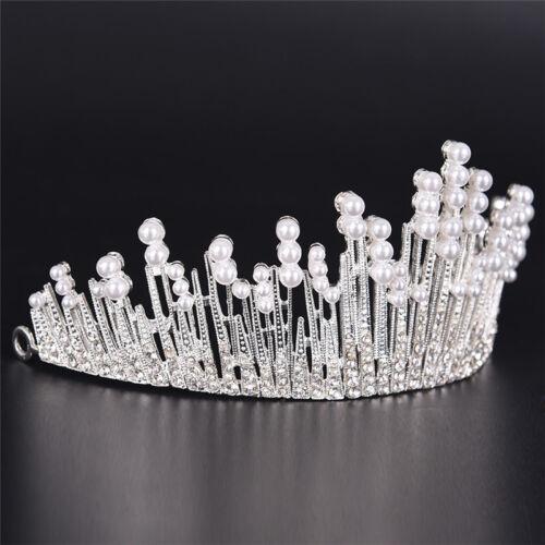 Perle Kristall Tiara Strass Haarschmuck Krone Hochzeit Braut Stirnban  bD
