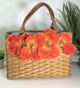 Kate-Spade-NY-Authentic-Vintage-Straw-Wicker-Flower-Tote-Bag-Brown-Orange-Rare