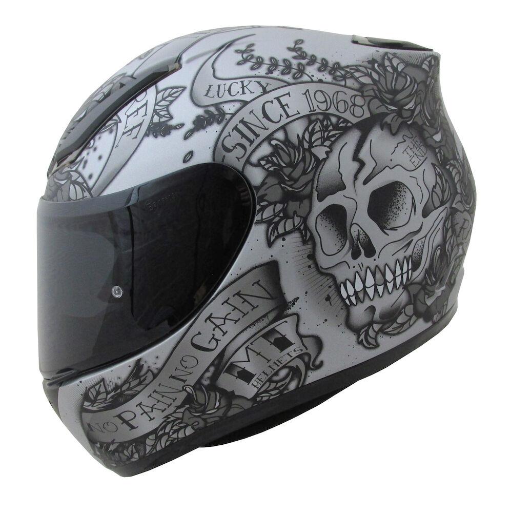 2388a5464e3b0 MT Revenge cráneo y rosas moto casco moto gris accidente tapa vespa