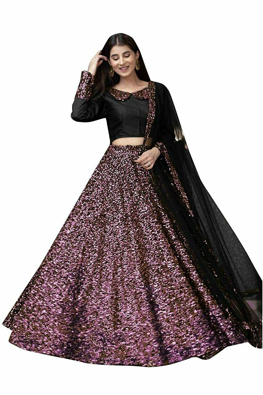 Women's Velvet Sequence Embroidered Work Material Semi-Stitched Lehenga Choli