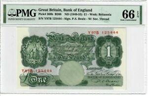 Great-Britain-1-Pound-Note-1949-55-Pick-369b-PMG-GEM-UNC-66-EPQ-Beale-Rare