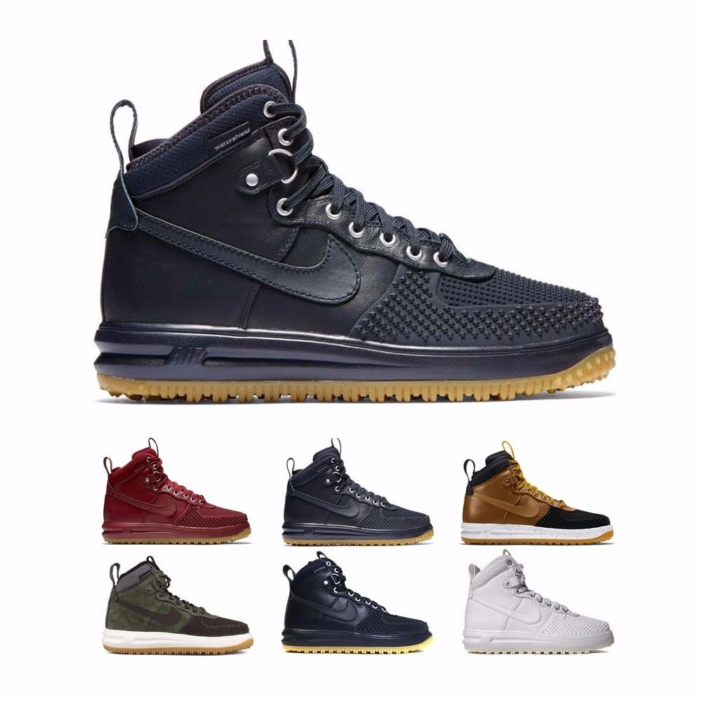 805899 Nike Lunar Force 1 Duckboot Sneakerboot Obsidian Red Olive Men's Shoes