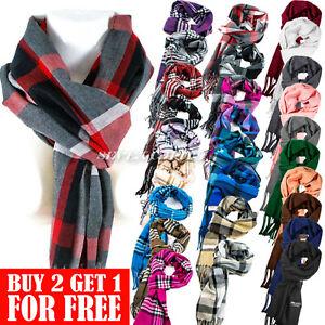 Men Women Winter Warm 100% CASHMERE Scarf Solid Plaid Wool SCOTLAND Pashmina
