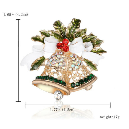 Fashion Rhinestone Bow Brooches Full of Bell Brooch Style Elegent Christmas Gift