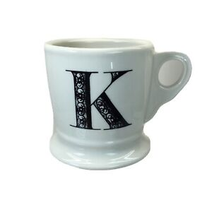 Anthropologie Monogram K Initial Coffee Tea Shaving Mug White And Black
