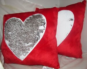 Set-of-2-Red-Valentines-Day-Love-Heart-Shaped-Mermaid-Pillow-Sequin-Sofa-Cushion